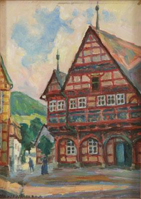 Northmann, Hans ( *1883): Altes Rathaus in Schwalenberg / Lippe, Öl auf Hartfaser, o.J. Foto: Ulrich Heinemann