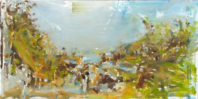 Thomas Kohl, Paradise Lost (B.), Öl auf Leinwand, 30 x 60 cm, 2010